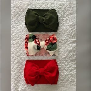 Handmade girls Headwrap; olive green, red & floral